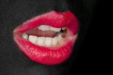 Free Black Painted Face - Red Lips Stock Images - 19847744