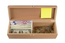 Free Wooden Box  With Money Royalty Free Stock Photo - 19848105