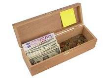 Free Wooden Box  With Money Stock Photo - 19848160