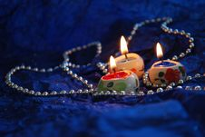 Heart Candles Deep Blue Background Stock Photos