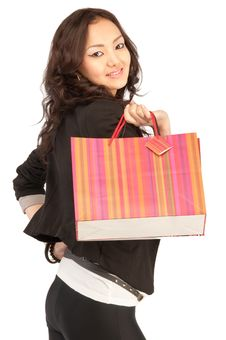 Asiatic Women With Shopping Bags, Isolated Royalty Free Stock Photo