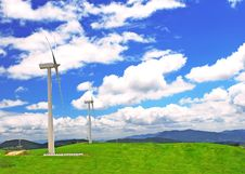 Free Windmill On  A Plain  Under Blue Stock Photo - 19849020