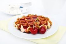 Free Waffles And Cherry Stock Image - 19849921