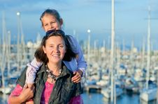 Free Portrait Of A Girl With Her Mother Near Yachts Royalty Free Stock Photos - 19849988