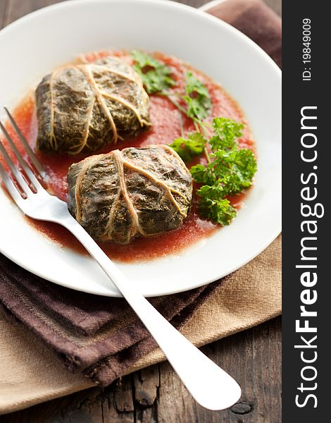 Dolmades with rhubarb leaves, meat and rice