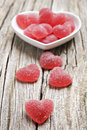 Free Red Heart Shaped Jelly Sweets On Wood Royalty Free Stock Photography - 19850257