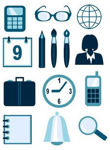 Business And Office Icons Royalty Free Stock Photography
