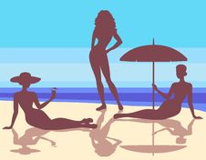 Free Silhouettes  On The Beach Stock Photography - 19850252