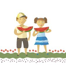 The Boy And The Girl Eat A Water-melon Stock Photo