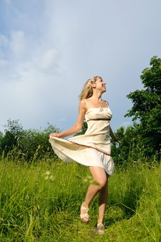 Free Dancing Woman On The Meadow Royalty Free Stock Photography - 19851737