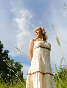 Woman On The Meadow Royalty Free Stock Photo