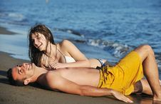 Free Happy Young Couple Have Romantic Time On Beach Royalty Free Stock Image - 19852686