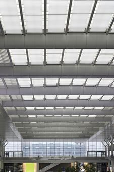 A Light And Bright Train Station Ceiling In Daytim Stock Photo
