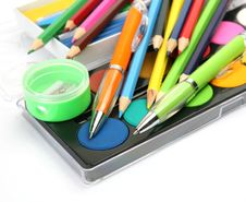 Free Color Pencils And Paints Stock Photography - 19854332