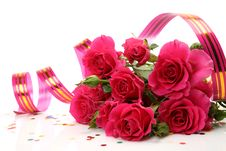 Free Bouquet Of Roses And Streamer Royalty Free Stock Images - 19854419