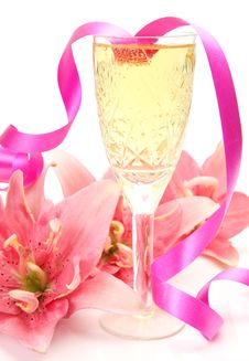Pink Lilies And Champagne Royalty Free Stock Images