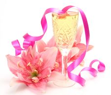 Pink Lilies And Champagne Stock Photos