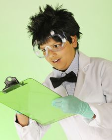 Mad Scientist Taking Notes Royalty Free Stock Photos
