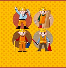 Free Cartoon Worker Card Royalty Free Stock Photography - 19854867