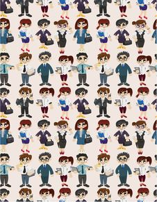Free Seamless Cartoon Office Worker Pattern Royalty Free Stock Photos - 19854868