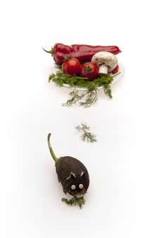 Vegetable Thief Rat Running Away Royalty Free Stock Images