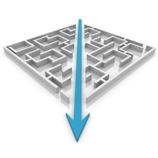 Free Arrow Cuts A Maze Royalty Free Stock Image - 19856136