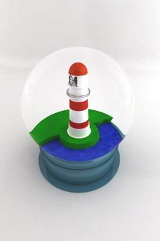 Free Souvenir Glass Bowl With A Lighthouse Stock Images - 19856174