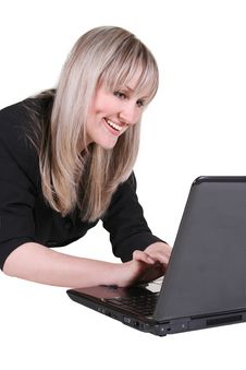 A Businesswoman With Notebook Stock Photo