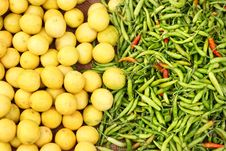 Farm Fresh Lemon And Chillies Stock Image