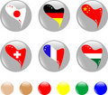 Free National Heart Flags Icon Shiny Button Stock Images - 19869044