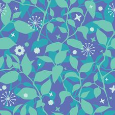 Free Seamless Floral Pattern In Blue Royalty Free Stock Photo - 19867415