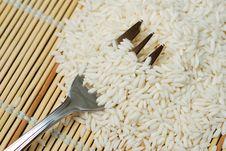 Fork In White Rice Stock Image
