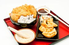 Free Rice And Fried Pork Cutlet And Fried Dumplings Royalty Free Stock Photography - 19868247