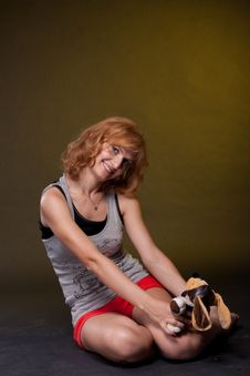 Red-haired Girl With Toys Royalty Free Stock Photography