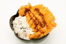 Rice And Fried Pork Cutlet Stock Images