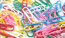 A Lot Of Colored Paper Clips Royalty Free Stock Images