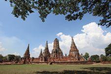 Historic City Of Ayutthaya - Wat Chai Wattanaram Royalty Free Stock Photos