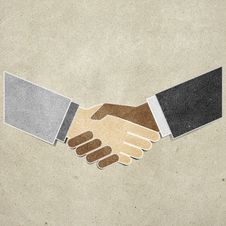 Free Shaking Hands Recycled Paper Royalty Free Stock Photo - 19869265