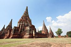Historic City Of Ayutthaya - Wat Chai Wattanaram Royalty Free Stock Photography