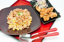 Free Japanese Cuisine -fried Rice Teriyaki Pork Royalty Free Stock Image - 19869416
