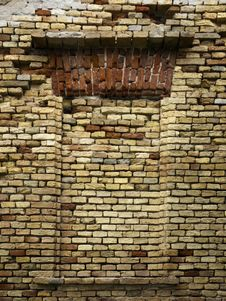 Free Old Brick Wall And Former Window Royalty Free Stock Photo - 19869955