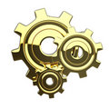 Free Golden 3D Isoleted Gears Royalty Free Stock Image - 19872646