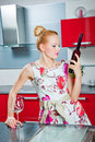 Free Girl With Glass And Bottle Of Wine In Kitchen Stock Photos - 19872703