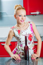 Free Girl With Glass And Bottle Of Wine In Kitchen Stock Photography - 19872872