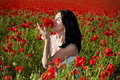 Free Girl On The Poppy Field Stock Photography - 19875972