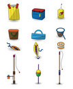 Free Cartoon Fishing Icons Set Stock Photos - 19878533