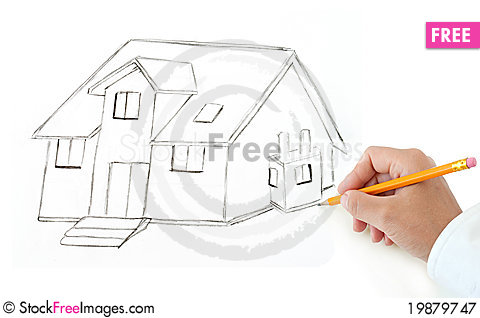 Royalty free stock photography 19879747 hand with pencil drawing house