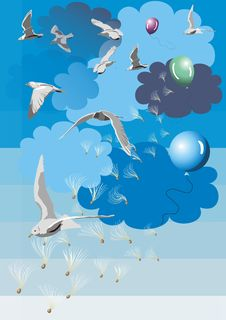 Free Birds And Clouds Stock Image - 19871371