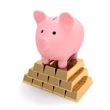 Free Piggy Bank On Gold Ingots Stock Image - 19871581