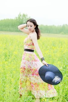 Free Asian Girl In Rape Field Royalty Free Stock Image - 19873056